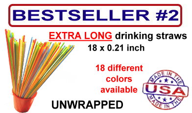 extra long drinking straws - 18 inch long - 18 different colors
